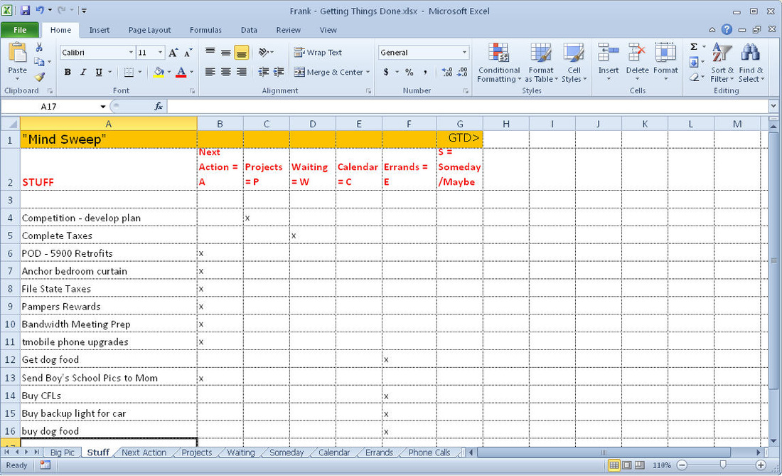 Getting Things Done Gtd Excel Template Frank Lio